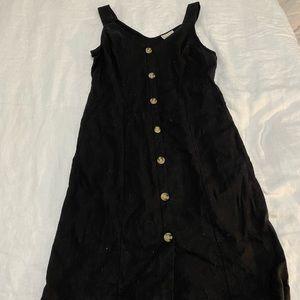Black button down midi dress.